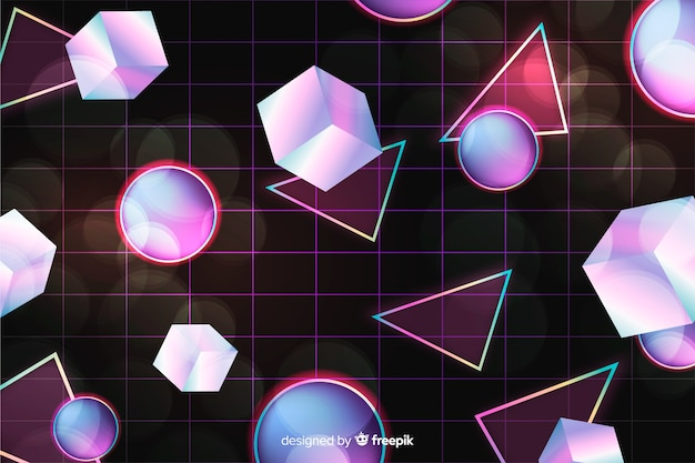 80s geometric background design with retro style Free Vector