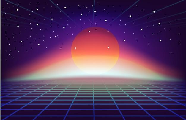 80s retro sci-fi background with sun Premium Vector