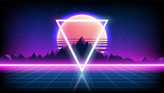 80年代レトロなサイエンスフィクションの背景と日の出または日没の夜空、星、ネオンゲームスタイルの無限の地平線メッシュの山の風景。未来的なイラスト Premiumベクター
