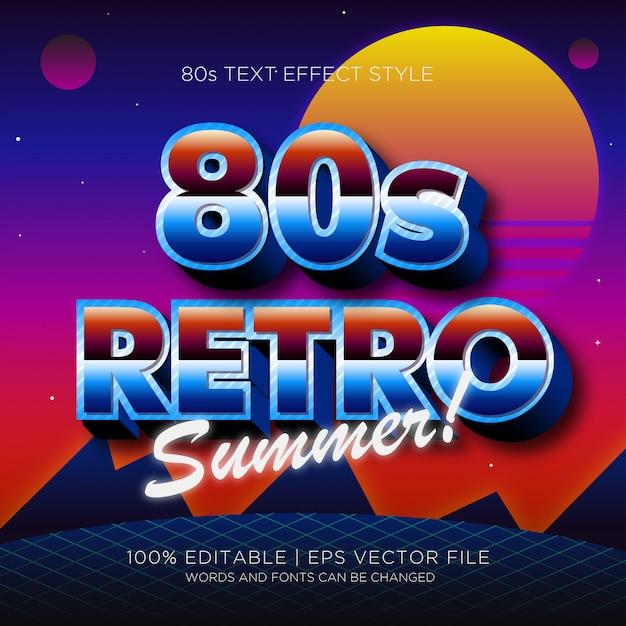 80s retro summer text effect Premium Vector