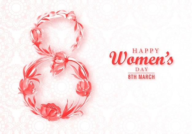Декоративные цветы 8 марта женская открытка Бесплатные векторы