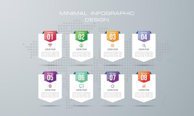 8つのオプション、ワークフロー、プロセスチャートを持つインフォグラフィックテンプレート Premiumベクター
