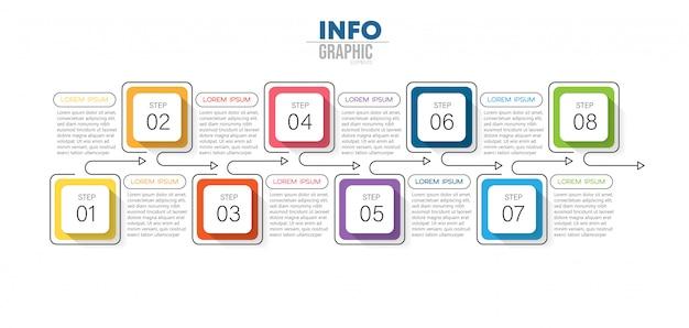 アイコンと8つのオプションまたは手順を持つインフォグラフィック要素 Premiumベクター