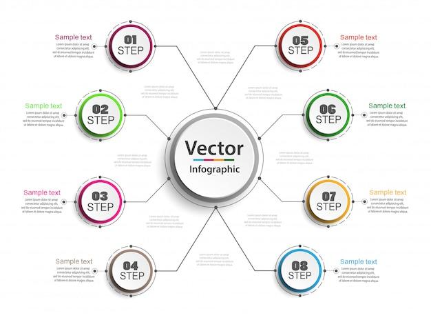 8つのオプションを持つインフォグラフィックデザインコンセプト Premiumベクター