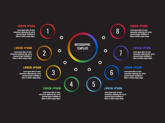 丸い紙で8つのステップのインフォグラフィックテンプレートは、黒の背景上の要素をカット Premiumベクター