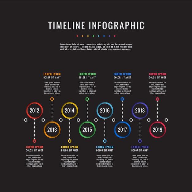 Корпоративная история сроки бизнес инфографики с 8 элементами вырезать из бумаги. Premium векторы