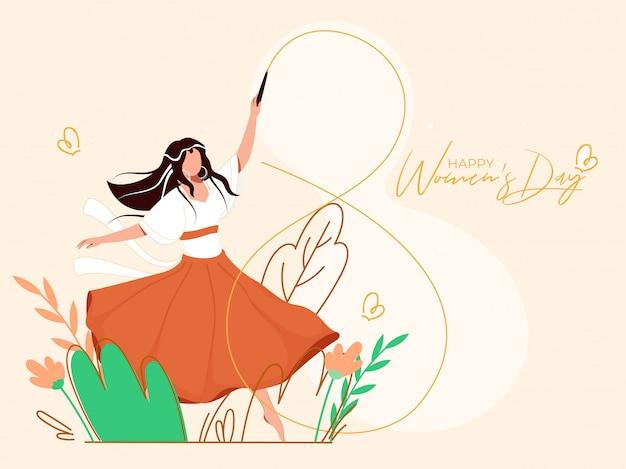 Молодая девушка из 8 фигур из ленты для гимнастики на природе открытка Premium векторы