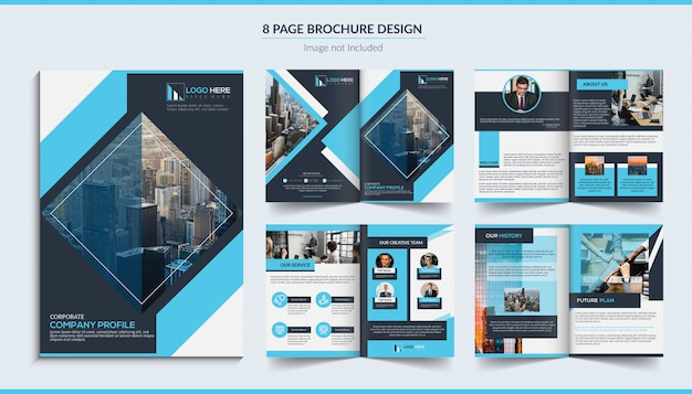 8ページの企業パンフレットのデザイン Premiumベクター