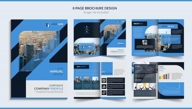 8ページのパンフレットのデザイン Premiumベクター