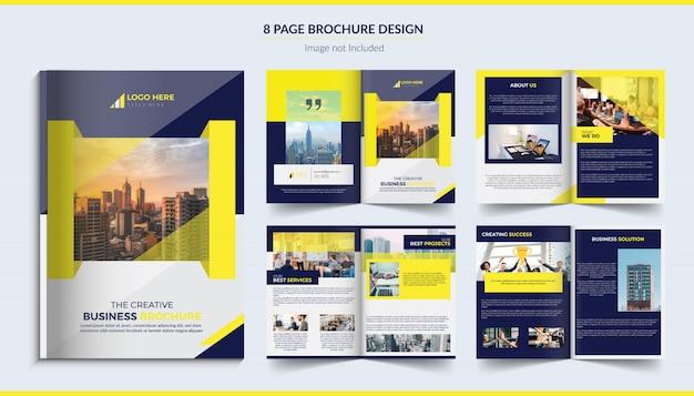 8ページの企業パンフレット Premiumベクター