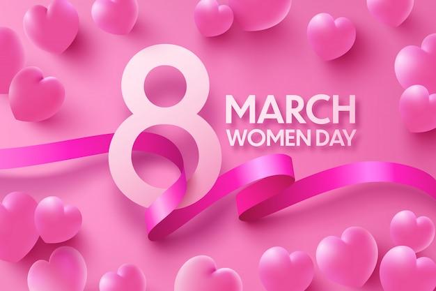 8 марта женская поздравительная открытка со сладкими сердечками и лентой на розовом Premium векторы