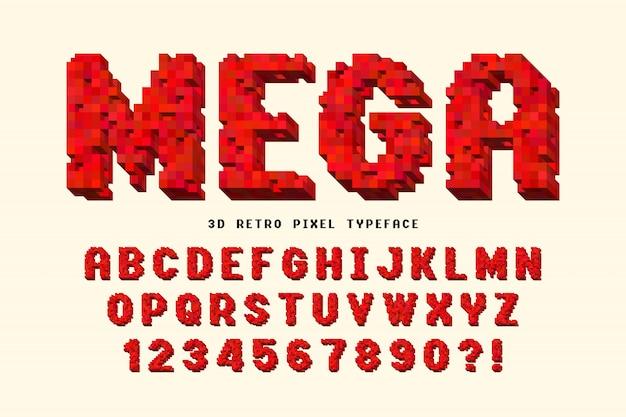 Пиксельный векторный дизайн шрифта, стилизованный под 8-битные игры. Premium векторы