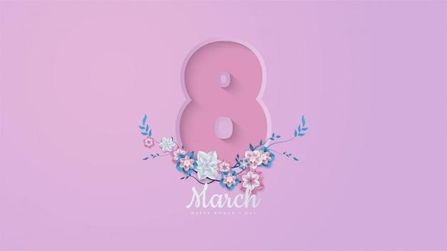 イラストの番号8と花の枝と葉を持つ女性の日の背景。 Premiumベクター