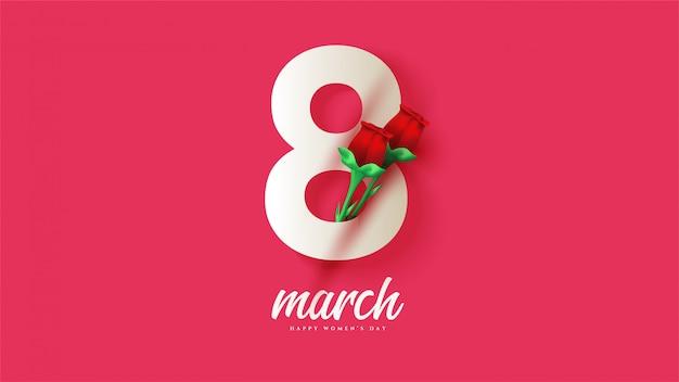 8 марта женский день с иллюстрациями белых цифр с красными розами Premium векторы