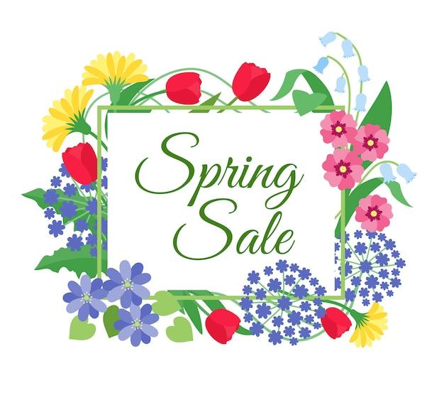 Продажа весенних цветов. день матери, 8 марта скидка рекламный баннер с весенними цветами. цветочный купон Premium векторы