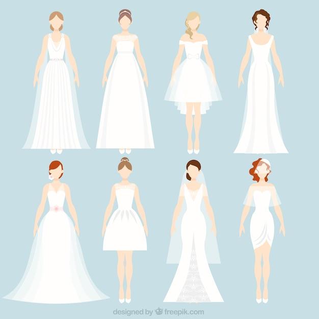 8 различных свадебных платьев Бесплатные векторы