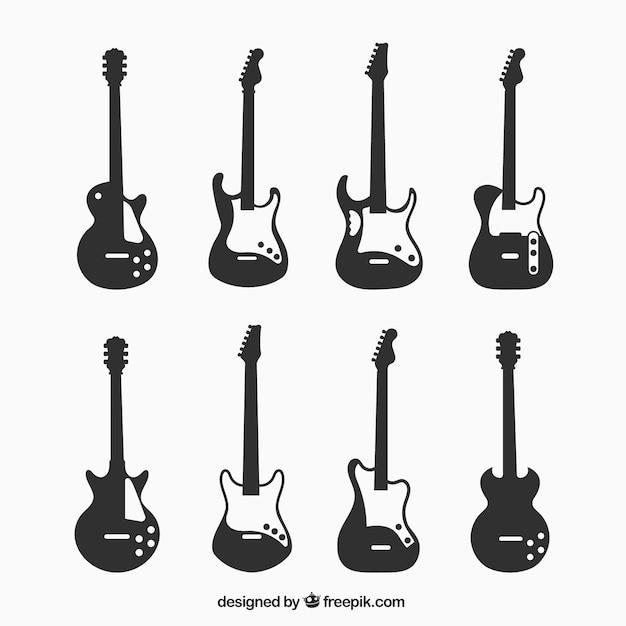8つのエレクトリックギターのシルエット 無料ベクター