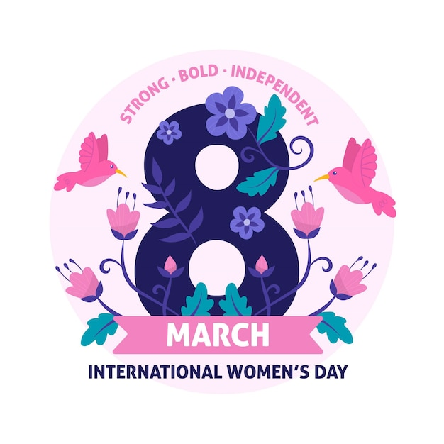Цветочный женский день 8 марта с птицей Бесплатные векторы