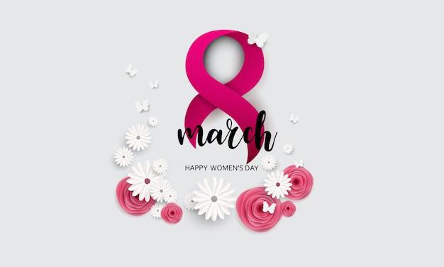 8 марта с днем матери. разрезанная бабочка с цветочным фоном Premium векторы