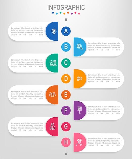 8つのオプションを持つビジネスインフォグラフィックラベルテンプレート Premiumベクター