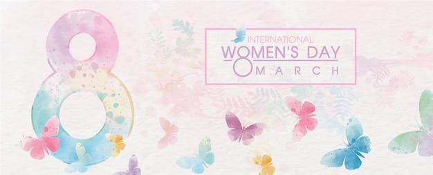 Гигантский номер 8 с красочными летающие бабочки и формулировка женского дня события на белой бумаге шаблон и завод красочный фон. Premium векторы