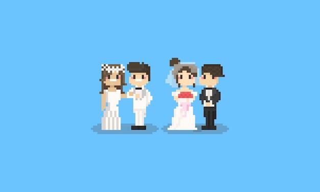 ピクセルかわいい結婚式の文字セット。 8ビット Premiumベクター