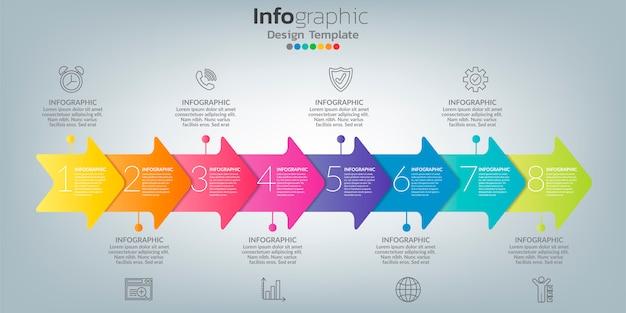 8つのオプション、ステップ、またはプロセスを備えたビジネスコンセプトのインフォグラフィック。 Premiumベクター