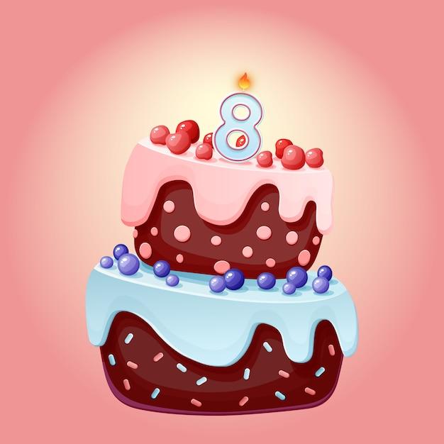 Милый мультфильм 8-летний юбилей праздничный торт со свечой номер восемь Premium векторы
