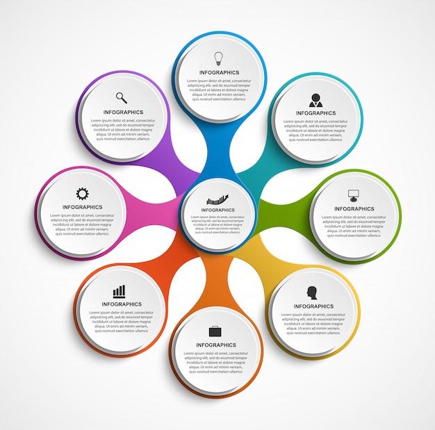 代謝物で構成される8つのオプションを持つ抽象的なインフォグラフィック。 Premiumベクター