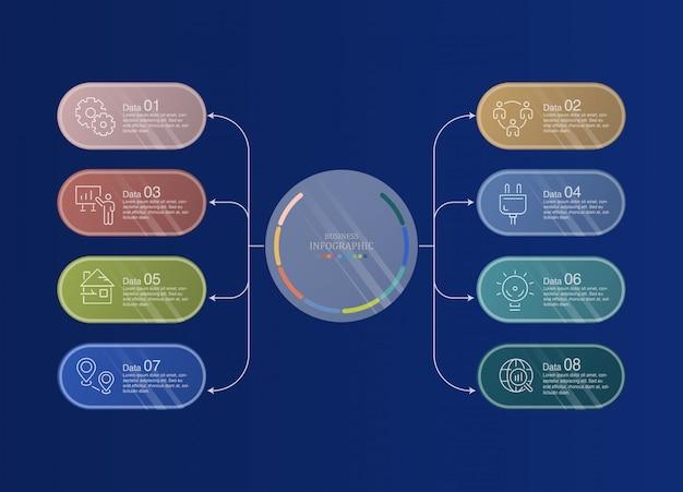 8データインフォグラフィックとビジネスコンセプトのアイコン。 Premiumベクター