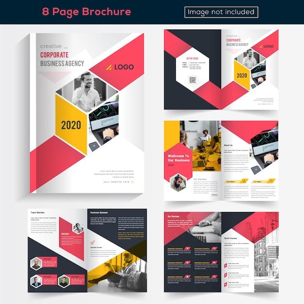 ビジネスのためのカラフルな8ページのパンフレットのデザイン Premiumベクター