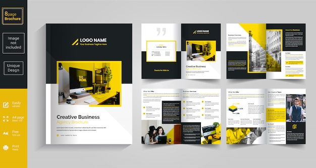8ページの黄色いパンフレットのデザイン Premiumベクター