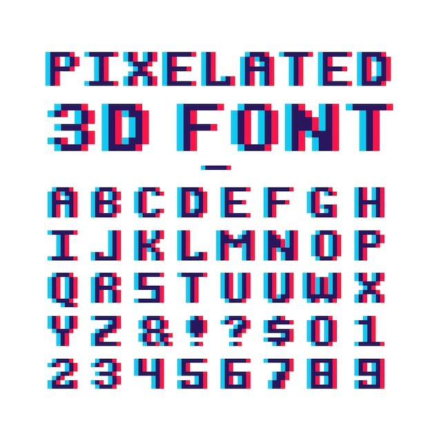 アナグリフ歪み効果を持つ8ビットピクセルアートオールドスクールラテンアルファベット Premiumベクター