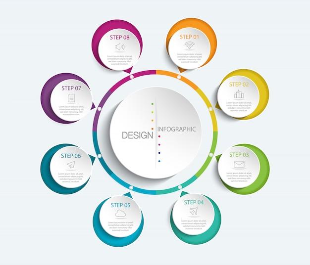 8サークルオプションとカラフルなインフォグラフィック Premiumベクター