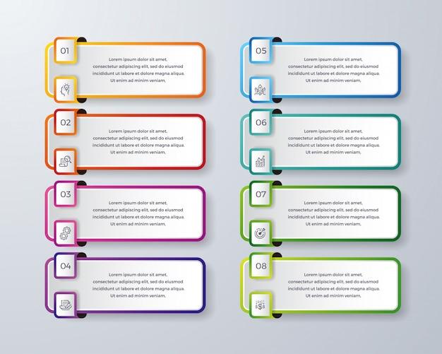 8つのプロセスまたはステップを持つインフォグラフィックデザイン。 Premiumベクター