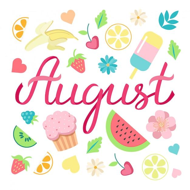 夏の日の要素を持つ手描きハロー8月タイポグラフィーリボンレタリングポスター Premiumベクター