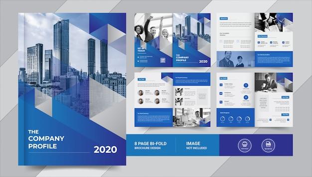 Синяя 8-страничная деловая брошюра Premium векторы