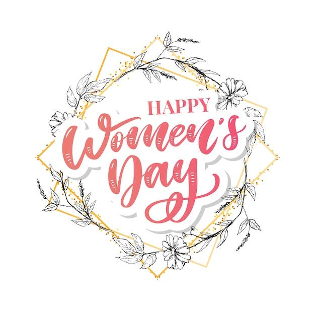 8 марта поздравительная открытка с днем женщины с линейным цветочным венком Premium векторы