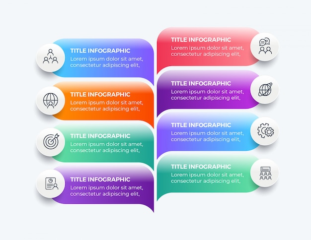 8つのステップのモダンなビジネスインフォグラフィック Premiumベクター