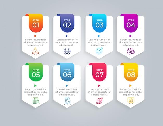 8つのステップビジネスインフォグラフィック要素 Premiumベクター