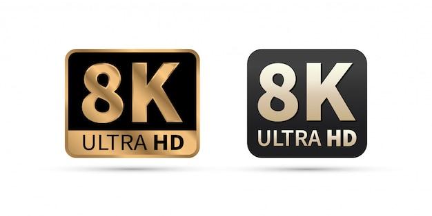 8k ultra hd icon. Premium Vector