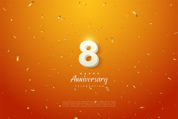 8th anniversary with numbers illustration on gold speckled orange background. Premium Vector
