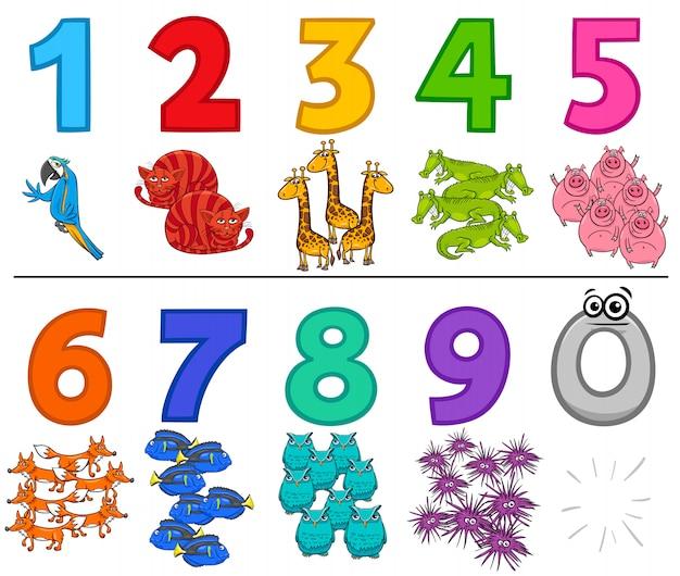 教育番号は動物と9に1を設定します Premiumベクター