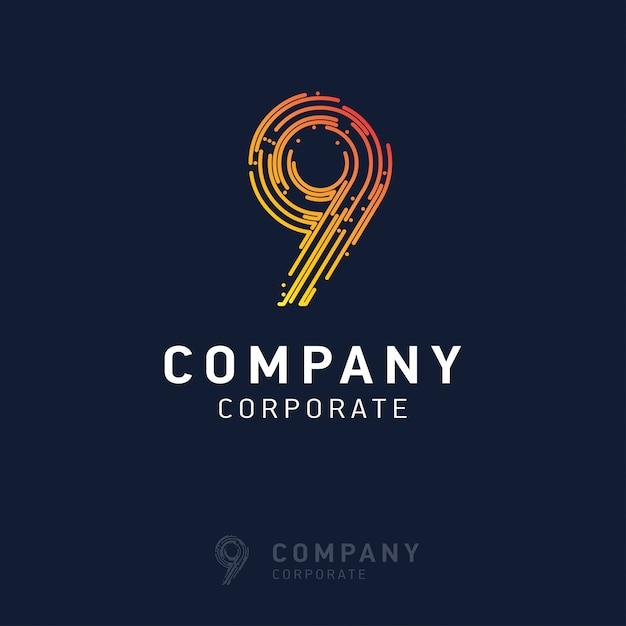 9 회사 로고 디자인 벡터 프리미엄 벡터