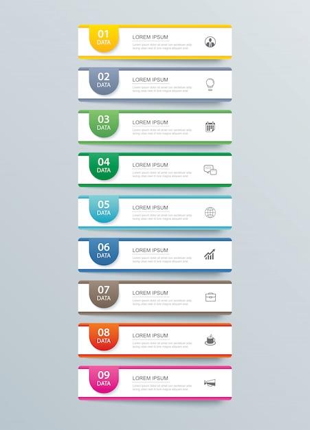 9 data infographics tab paper index template. Premium Vector
