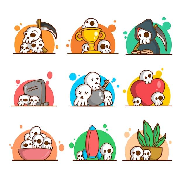 9 funny skull illustration Premium Vector