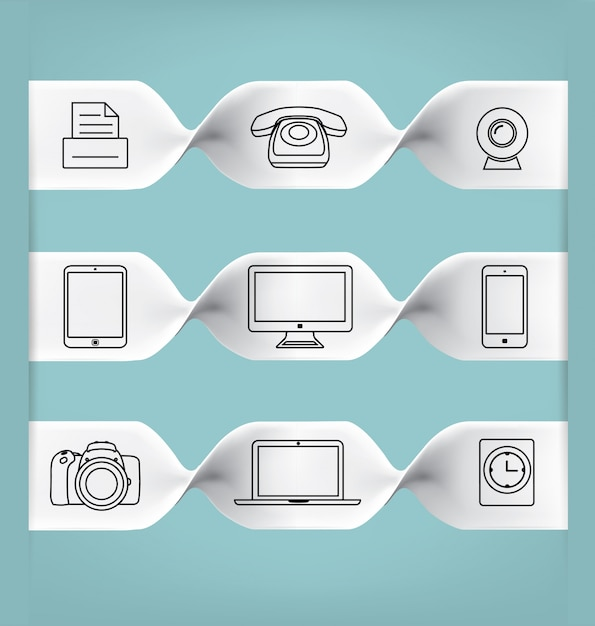 9 line icons Free Vector