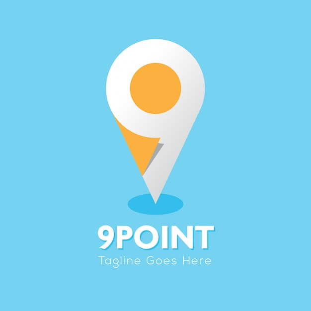 9 point logo location Premium Vector