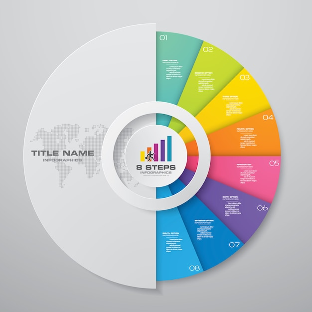 9 steps cycle chart infographics elements. Premium Vector