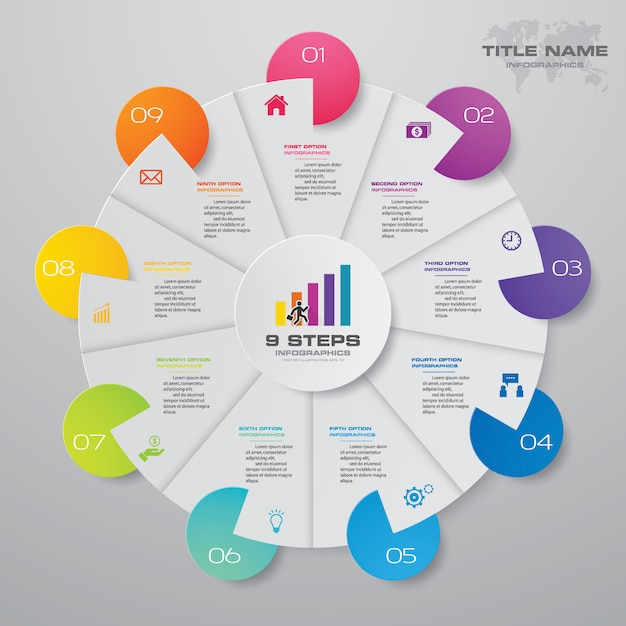 9 steps modern pie chart infographics elements. Premium Vector